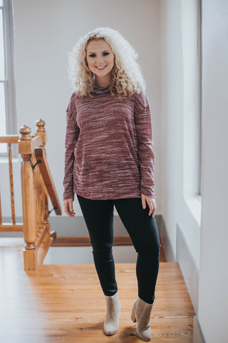 Heather Knit Long Sleeve Top, Burgundy