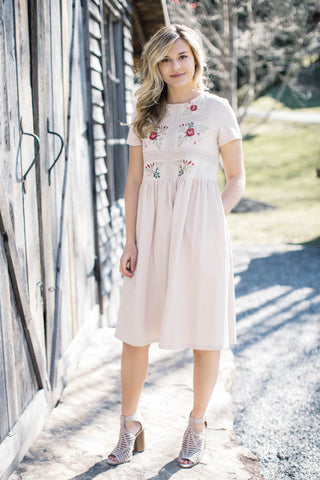 Floral Smocked Off the Shoulder Dress, Beige