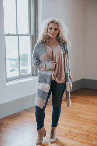 Penelope Striped Cardigan, Grey Pastel