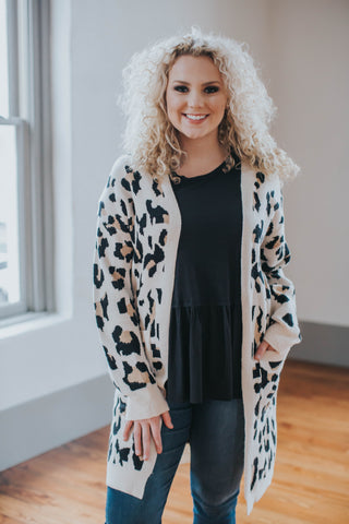 Plus Size Light Leopard Printed Cardigan, Beige Multi