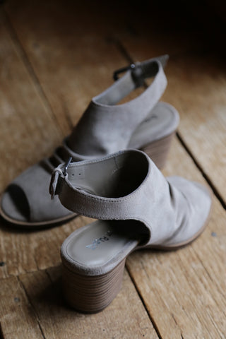 Peep Toe Shoe, Feather Grey by Dirty laundry