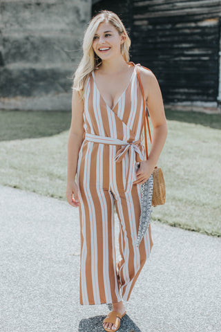 Striped Wrap Front Maxi, Beige Multi