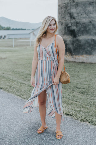 Embroidered V-neck Dress, Light Olive