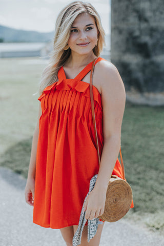 Ruffle Pleated Dress, Red Orange