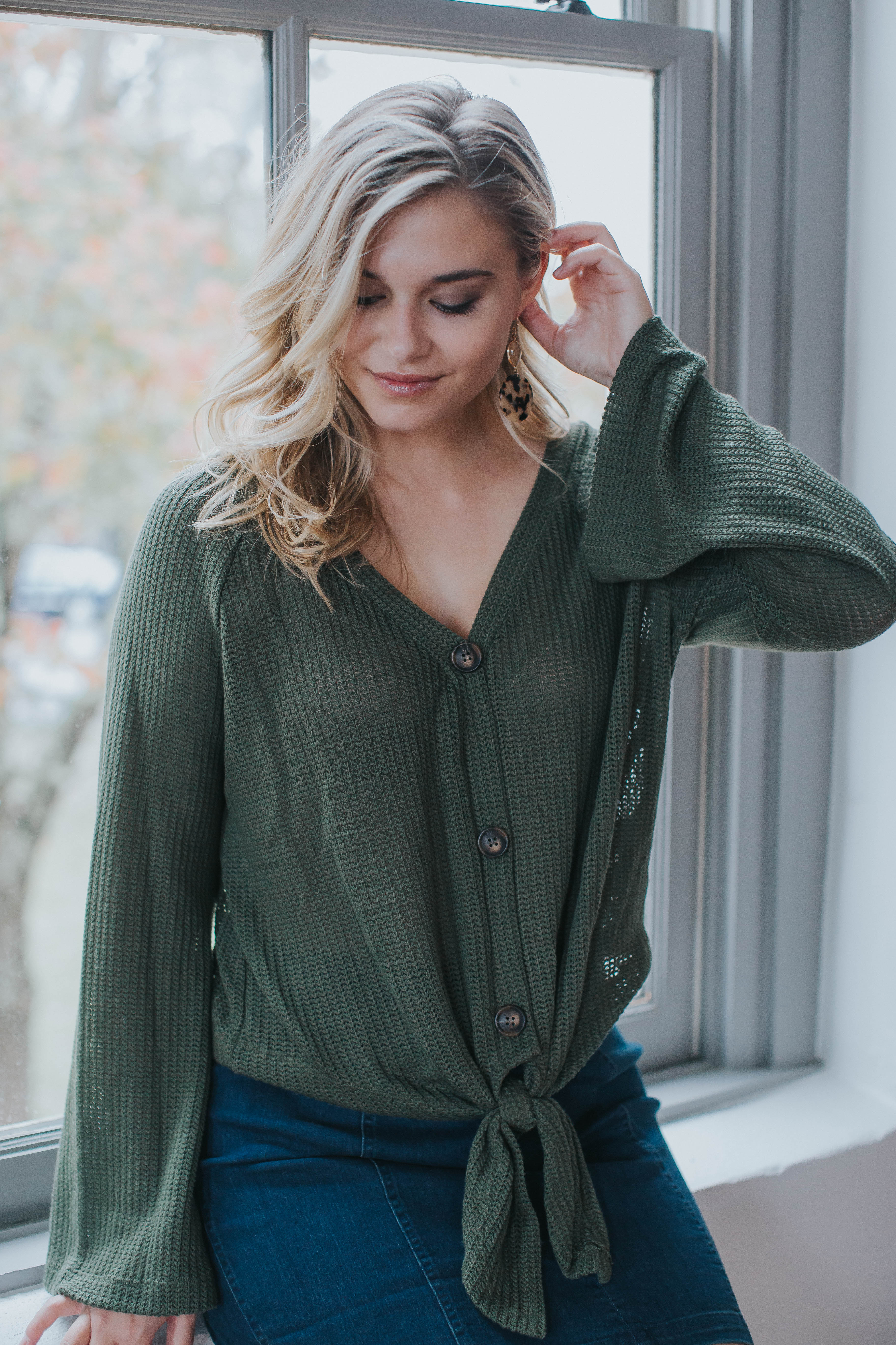 Sunday Morning Button Up Top, Olive