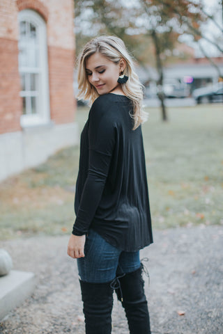 Michelle Wrap Front Top, Black