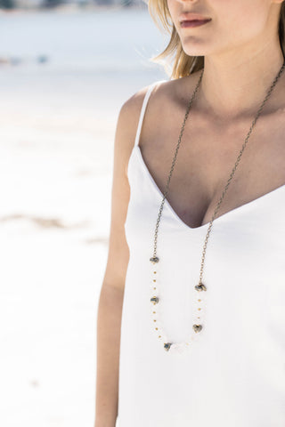 The Curtis Necklace, Clear/Gold | betsy pittard designs