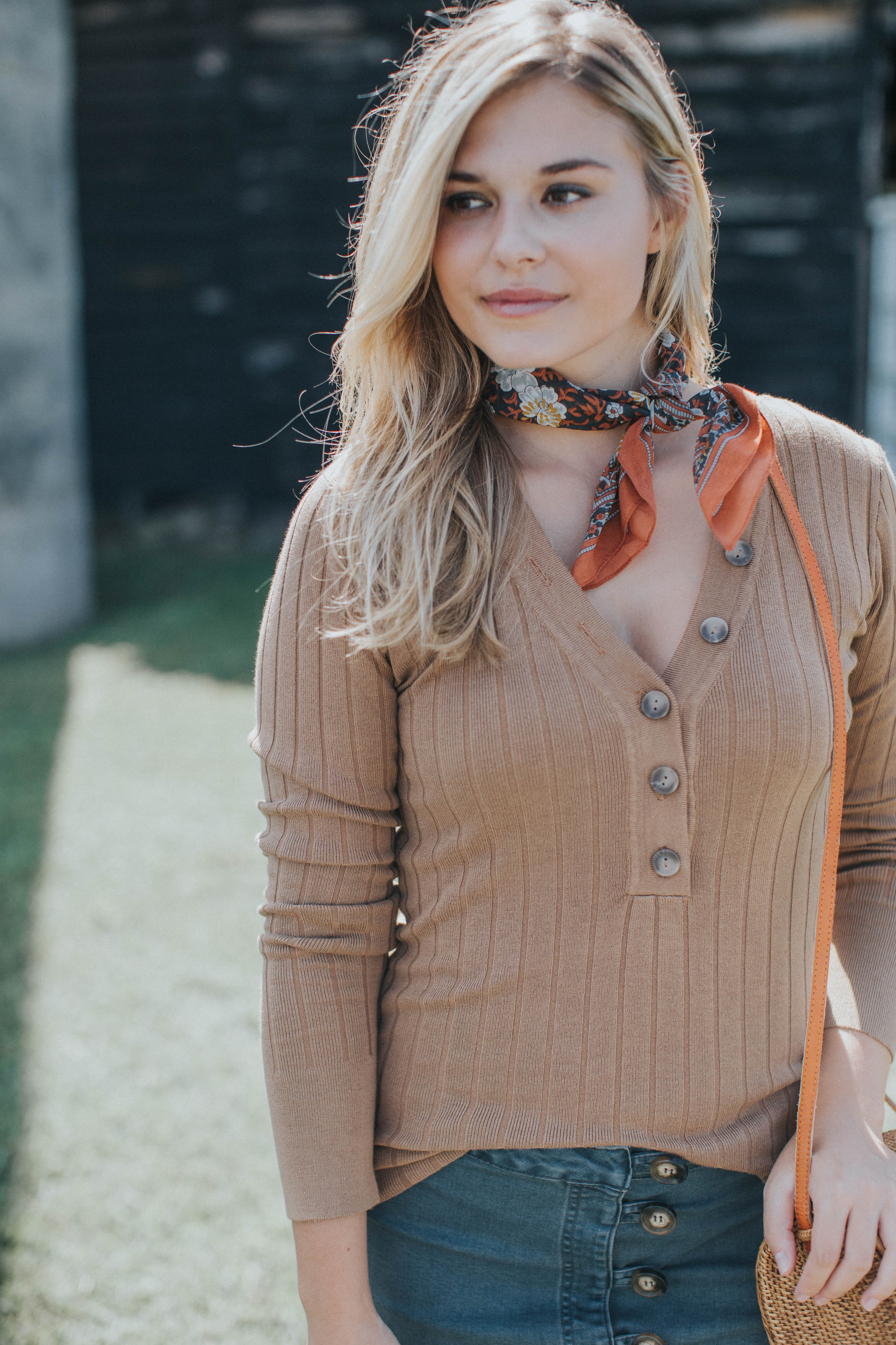 Button Neckline Sweater, Camel