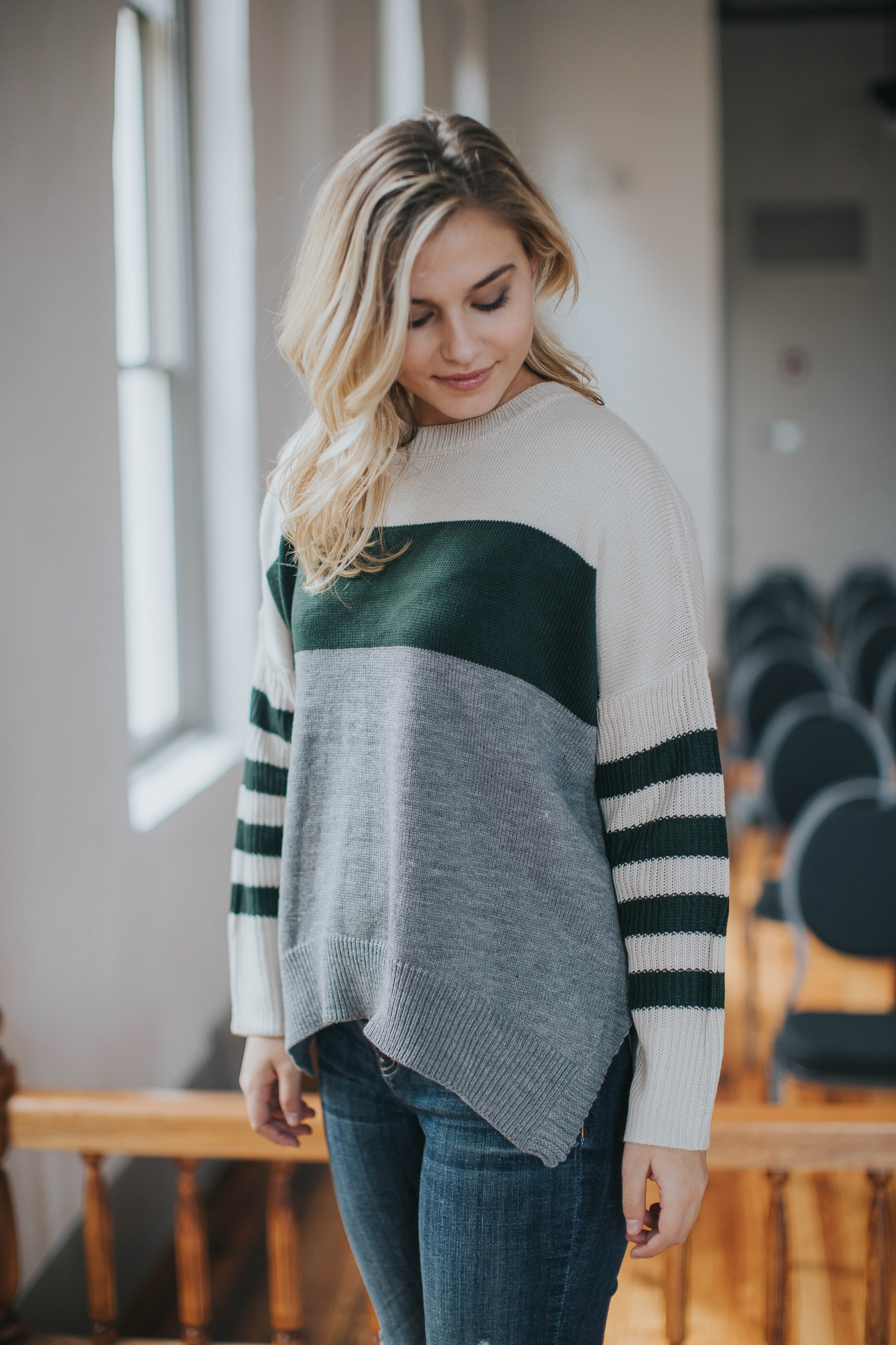 ColorBlock Striped Sweater, Green