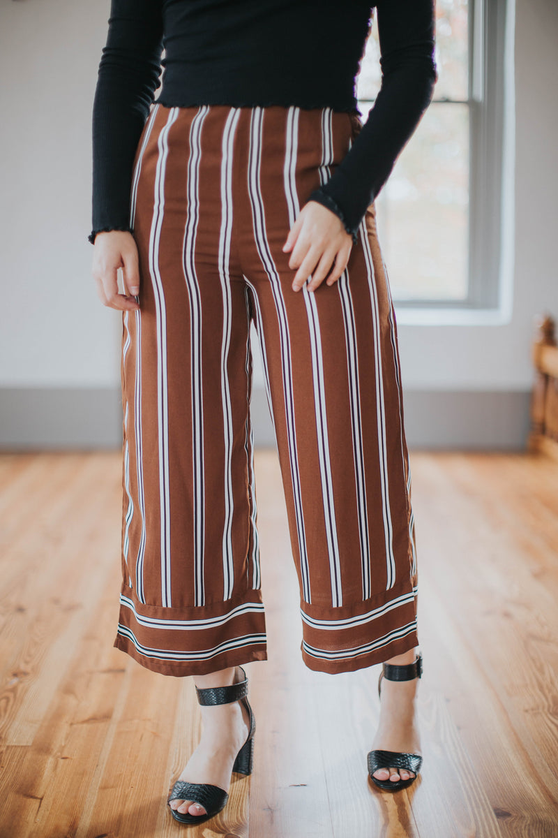 Women's Striped Pant Wide Leg, Brown
