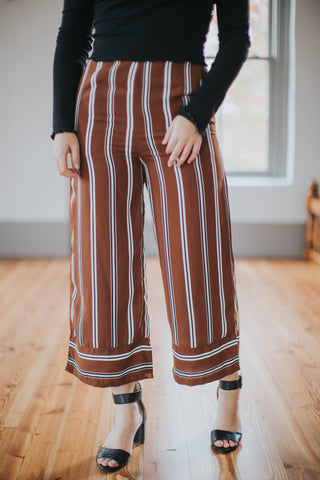 Striped Pant Wide Leg, Brown