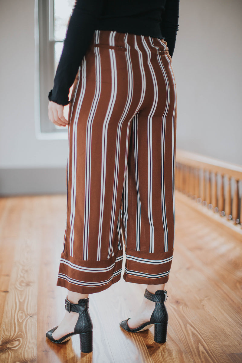 Striped Pant Wide Leg, Brown by Blu Pepper