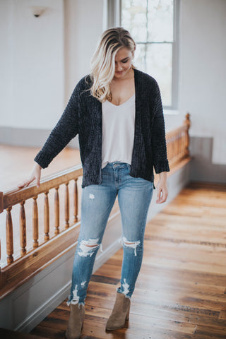 Soft & Cozy Chenille Cardigan, Black