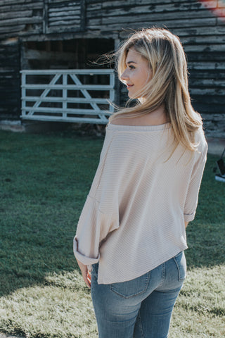 Drop Sleeve Knit Sweater, Taupe