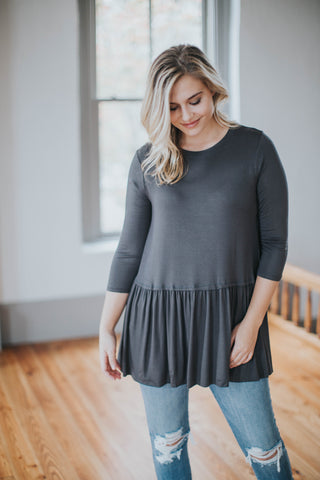 Ruffled Hem Tunic, Ash Grey