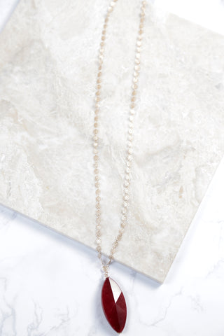 Floral Chain With Stone Necklace, Burgundy