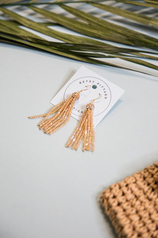 Lathan Tassel Earrings, Navy