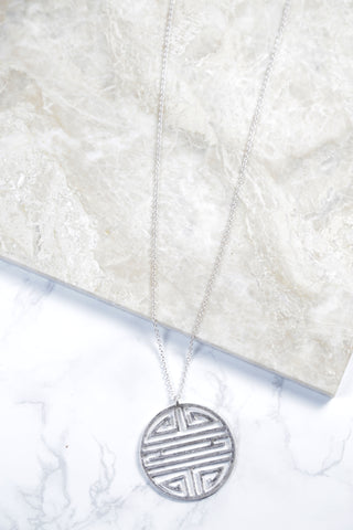 Labyrinth Pendant Design Necklace, Silver