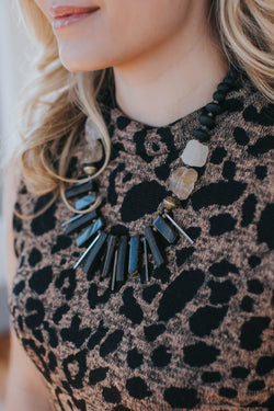 Spiked Stone Necklace, Black | Women's Fashion Jewelry