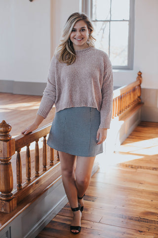 Chenille Crop Sweater, Dusty Pink