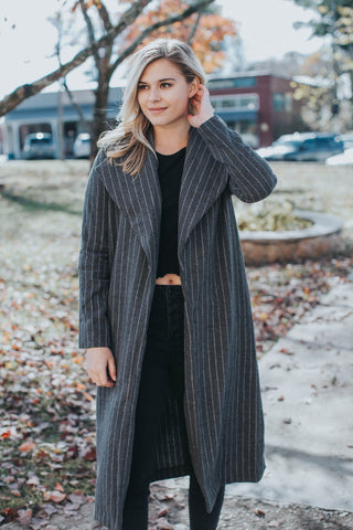 Avis Striped Cardigan, Charcoal