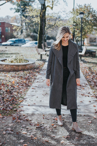 Striped Duster Coat, Charcoal