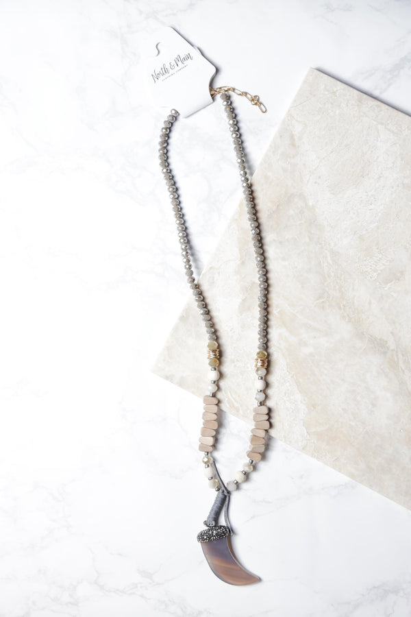 Glass Horn Necklace, Grey | Fashion Jewelry