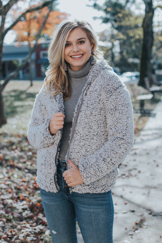 Chic Long Sherpa Peacoat, Light Mauve