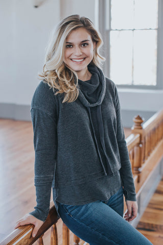 Cowl Neck Pullover, Black
