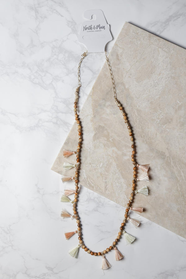 Stone Bead & Thread Tassel Necklace, Jasper