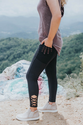 Julia Criss Cross Legging, Black