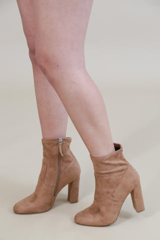Prenton Scalloped V-Cut Bootie, Taupe