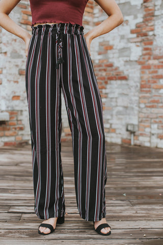 Striped High Waisted Pants, Black