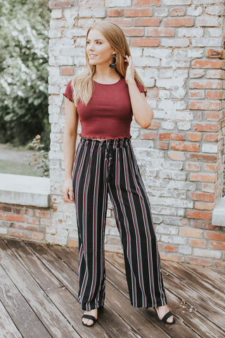 Striped Twisted Top, Ivory/Black