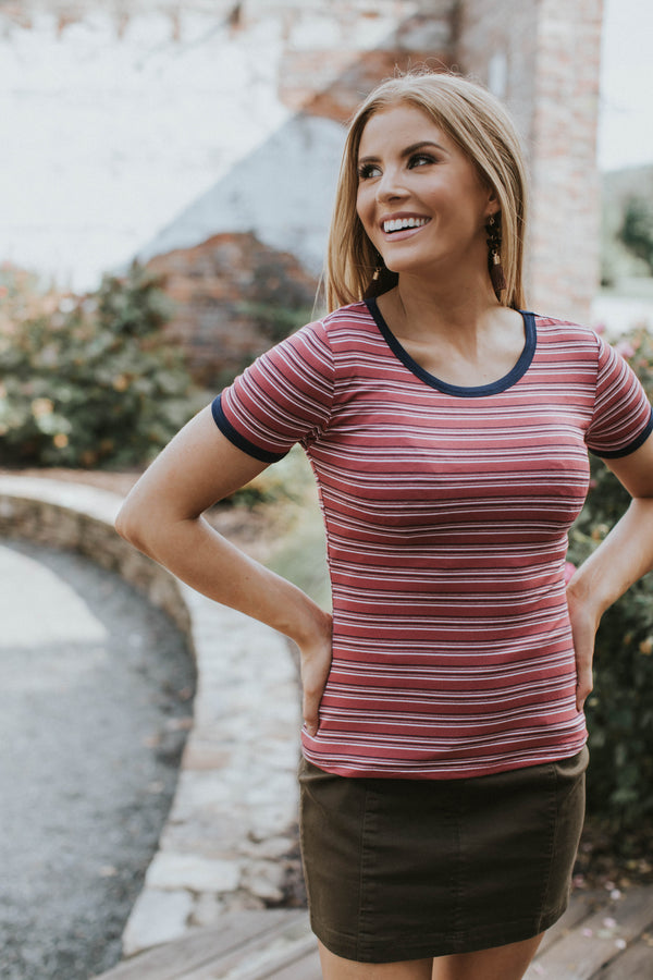 Robyn Striped Tee, Raspberry