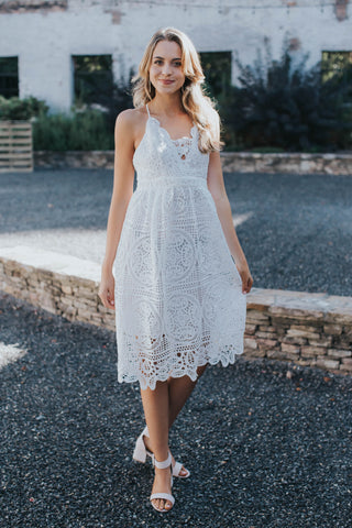 Lace Cocktail Midi Dress, White