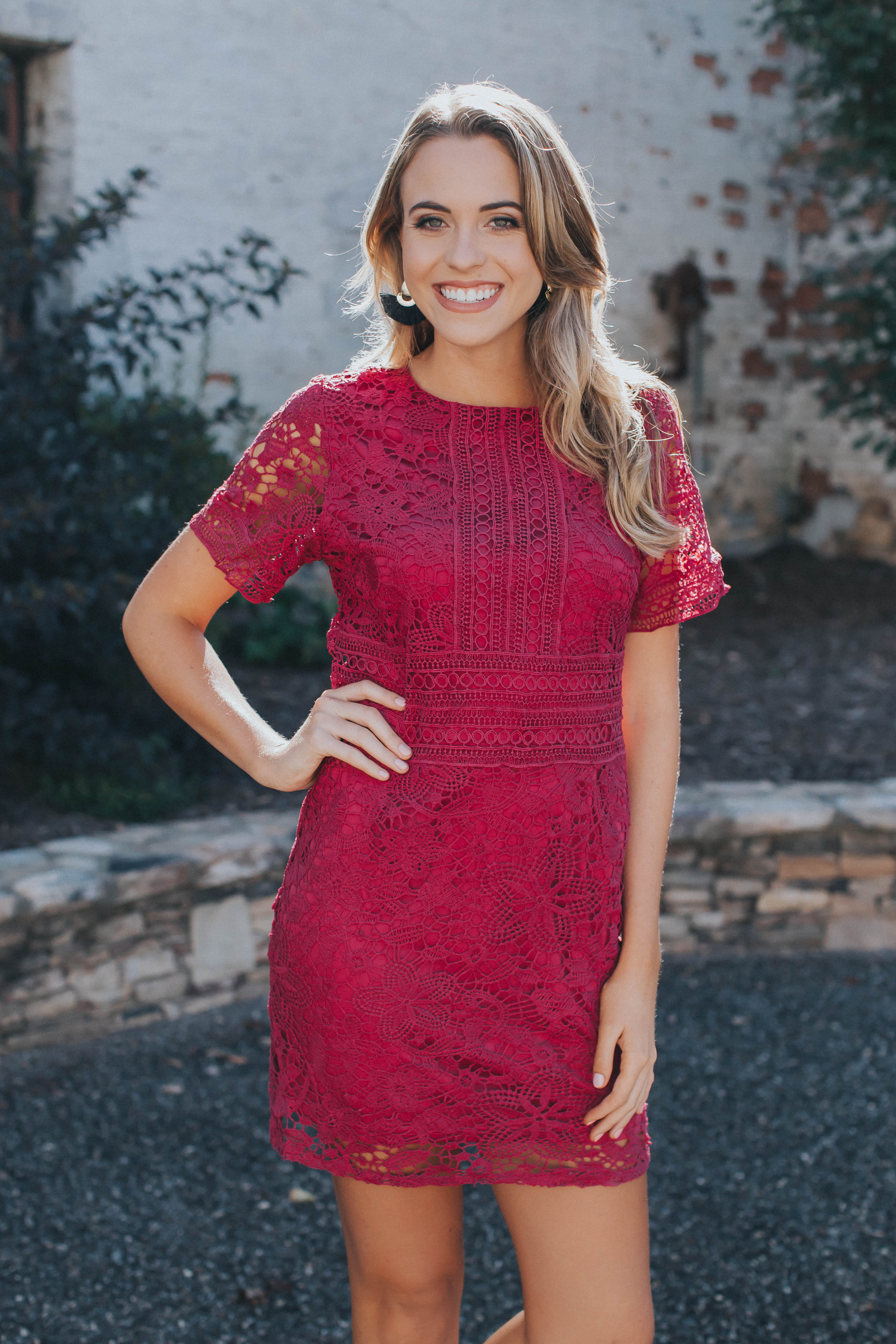 Annie Lace Lined Dress, Fuchsia