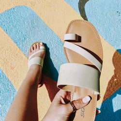 Gemini Slide On Sandal, Cream