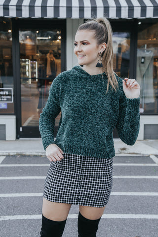 Chenille Cropped Sweater, Pine Green