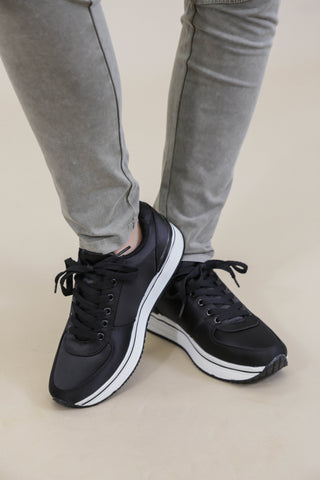 Satin Sneakers, Black