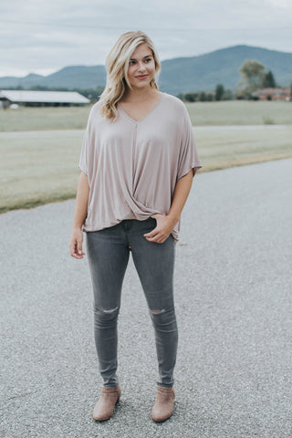 Darling Wrap Front Top, Latte
