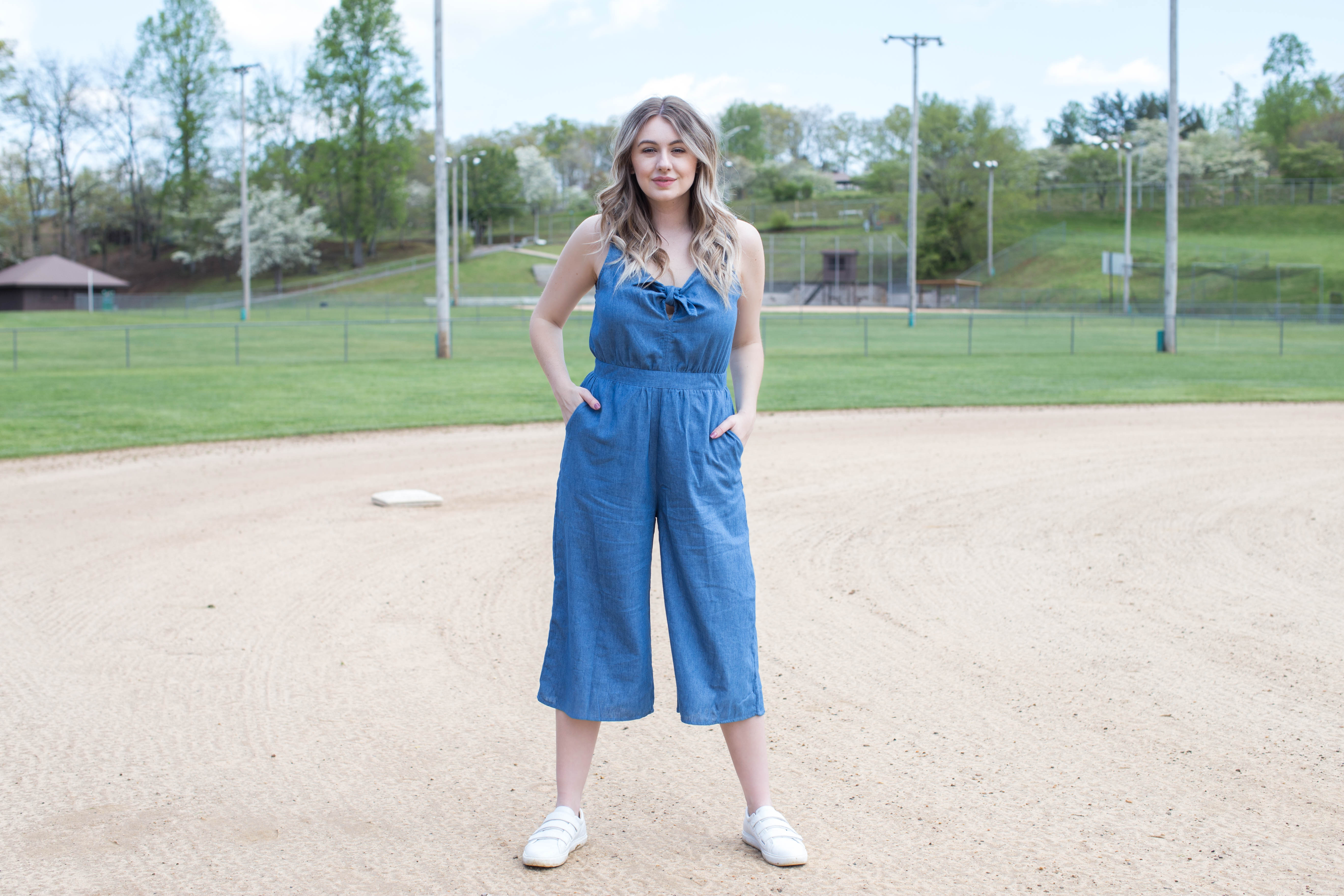 Spencer Sleeveless Jumpsuit, Blue