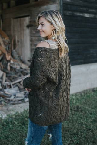 Oversized Knit Cardigan, Olive