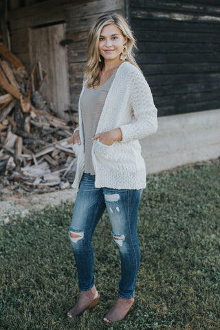 Long Sleeve Knit Cardigan, Cream