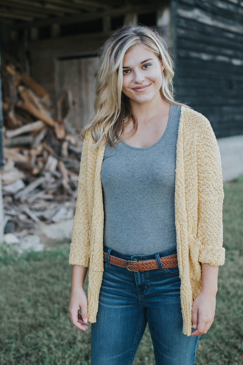 Long Sleeve Knit Cardigan, Mustard | Plus Size