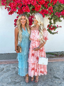 Tessa Tie Dye Off The Shoulder Tiered Ruffle Dress, Pink Coral | La'Ven