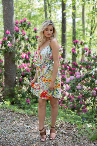 Morocco Tropical Print Dress, Ivory