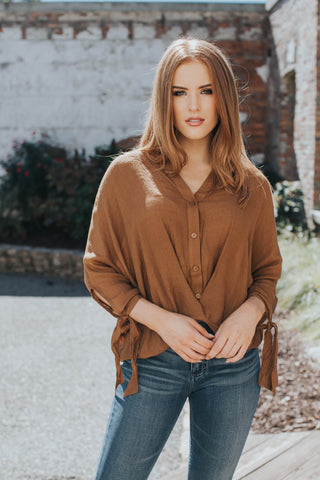 Gather Front Button Top, Dark Mustard