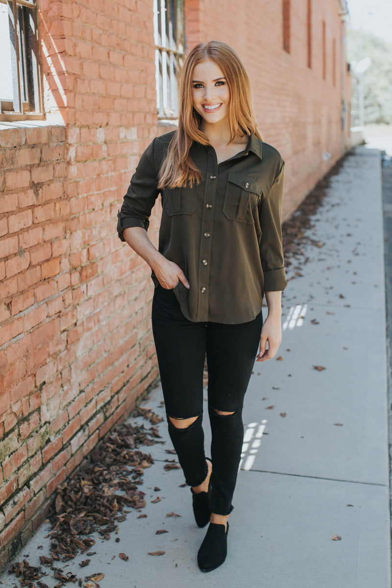 Rhonda Button Up Top, Olive