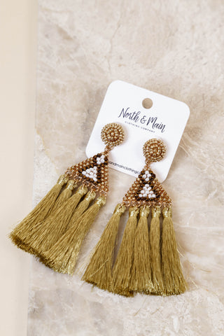 Printed Triangle Tassle Dangle Earring, Gold